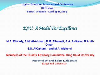 KSU: A Model For Excellence