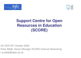 Support Centre for Open Resources in Education SCORE
