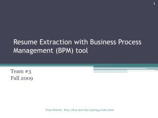 Resume Extraction with Business Process Management BPM tool