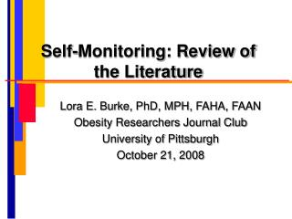 Self-Monitoring: Review of the Literature