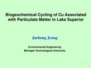 Biogeochemical Cycling of Cu Associated with Particulate Matter in Lake Superior