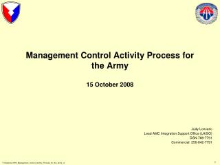 Management Control Activity Process for the Army  15 October 2008