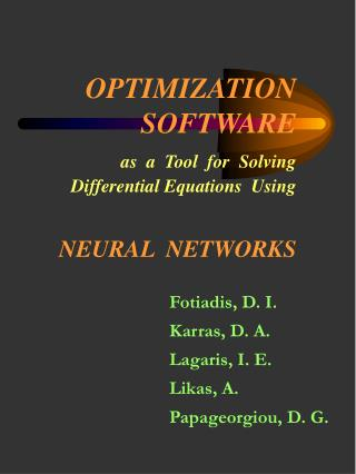 OPTIMIZATION SOFTWARE  as  a  Tool  for  Solving   Differential Equations  Using  NEURAL  NETWORKS