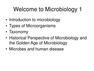Welcome to Microbiology 1