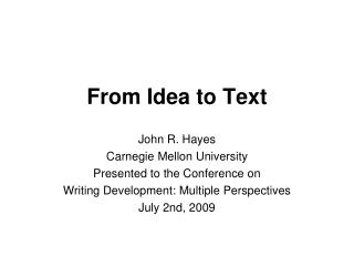From Idea to Text