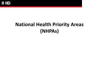 National Health Priority Areas NHPAs