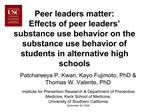 Peer leaders matter:  Effects of peer leaders   substance use behavior on the substance use behavior of students in alte