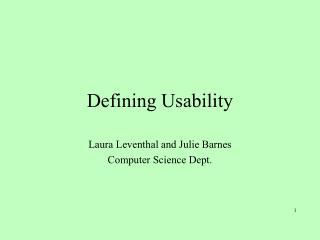 Defining Usability