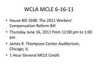 WCLA MCLE
