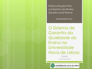 O Sistema de Garantia da Qualidade do Ensino na Universidade Nova de Lisboa