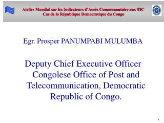 Egr. Prosper PANUMPABI MULUMBA  Deputy Chief Executive Officer  Congolese Office of Post and Telecommunication, Democrat
