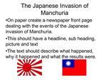 The Japanese Invasion of Manchuria