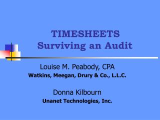 TIMESHEETS Surviving an Audit