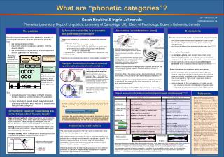 Sarah Hawkins  Ingrid Johnsrude Phonetics Laboratory, Dept. of Linguistics, University of Cambridge, UK;   Dept. of Psyc