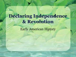 Declaring Independence  Revolution