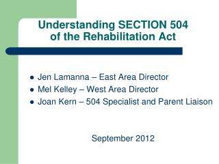 Understanding SECTION 504  of the Rehabilitation Act