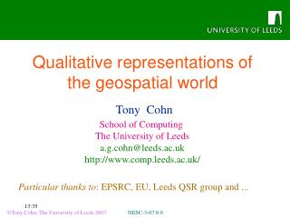 Qualitative representations of the geospatial world