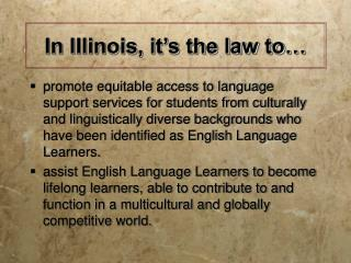 Working with English Language  Learners in Illinois: Science Instruction