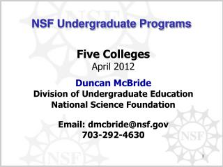 NSF Undergraduate Programs