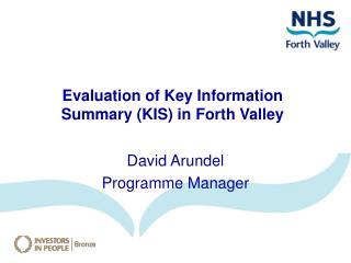 David Arundel Programme Manager