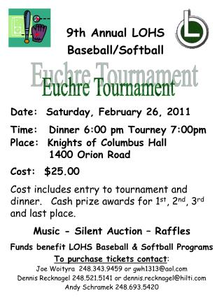 Euchre Tournament 9th Annual LOHS