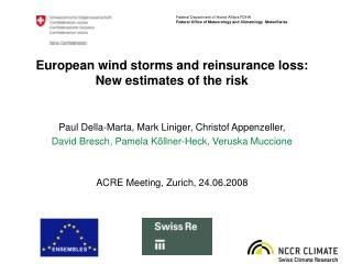European wind storms and reinsurance loss: New estimates of the risk