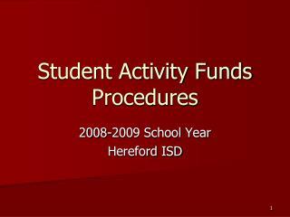 Student Activity Funds Procedures