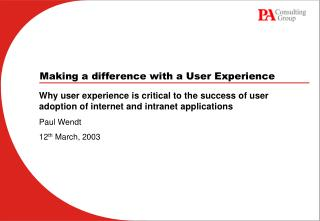 Making a difference with a User Experience