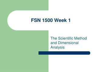 FSN 1500 Week 1