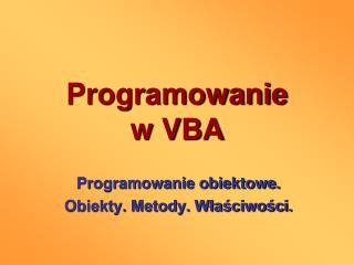 Programowanie w VBA