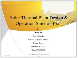 Solar Thermal Plant Design  Operation Suite of Tools