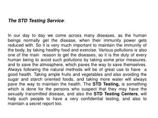 STD Testing Center