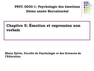 Chapitre 5:  motion et expression non verbale