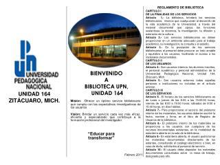 BIENVENIDO  A  BIBLIOTECA UPN,  UNIDAD 164