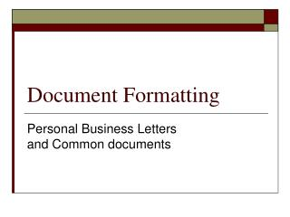 Document Formatting