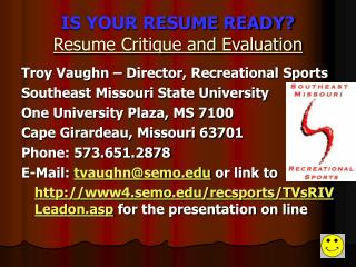 IS YOUR RESUME READY