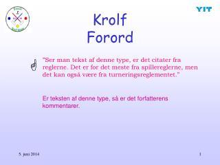 Krolf Forord
