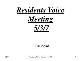 Residents Voice  Meeting  5
