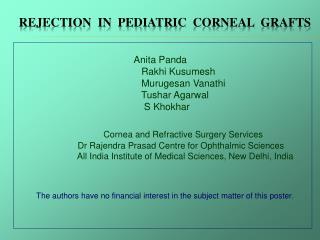 Rejection  in  pediatric  corneal  grafts