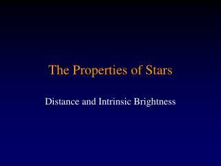 The Properties of Stars
