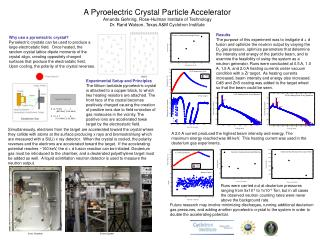 A Pyroelectric Crystal Particle Accelerator Amanda Gehring, Rose-Hulman Institute of Technology Dr. Rand Watson, Texas A