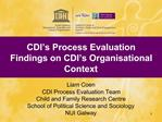 CDI s Process Evaluation Findings on CDI s Organisational Context   Liam Coen CDI Process Evaluation Team  Child and Fam