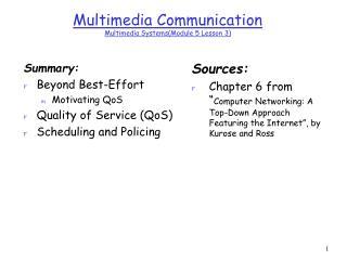 Multimedia Communication  Multimedia SystemsModule 5 Lesson 3