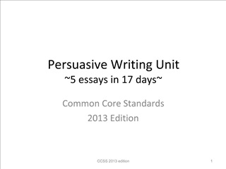 Persuasive Writing Unit 5 essays in 17 days