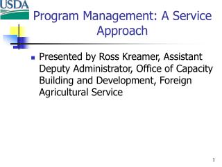 Program Management: A Service Approach