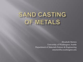 Sand Casting of Metals