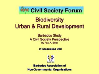 Biodiversity Urban  Rural Development   Barbados Study A Civil Society Perspective by Fay A. Best