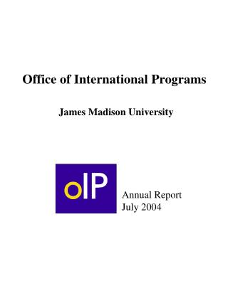 Office of International Programs   James Madison University