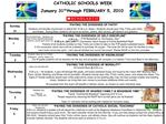 CATHOLIC SCHOOLS WEEK January 31st through FEBRUARY 5, 2010