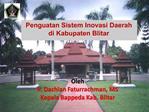 Penguatan Sistem Inovasi Daerah  di Kabupaten Blitar